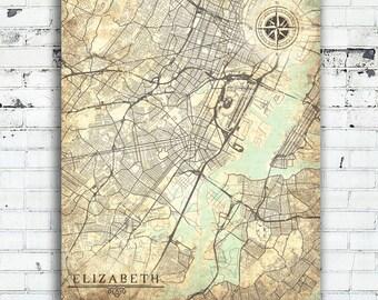 Elizabeth nj map Etsy