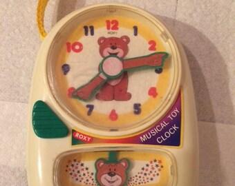 Vintage Musical Teddy Bear Toy Clock