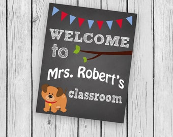 Welcome to school Teacher Puppy name Dog Classroom Counseling Office Printable Instant Download Back to School Home School Common Language