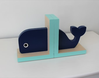 Navy Blue Whale Bookends, Nautical Room Decor, Nautical Nursery Decor, Nautical Baby, Nautical Boy, Nautical Kids, Whale Baby, Wooden Whale