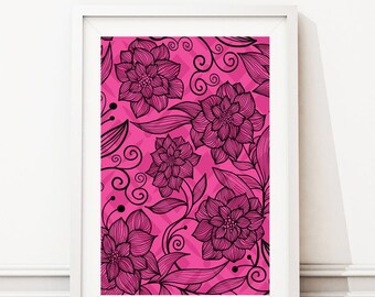 Pink and Black Floral design print- Digital Files with Instant Download-Home Decor- 8x10  File other colors Available !