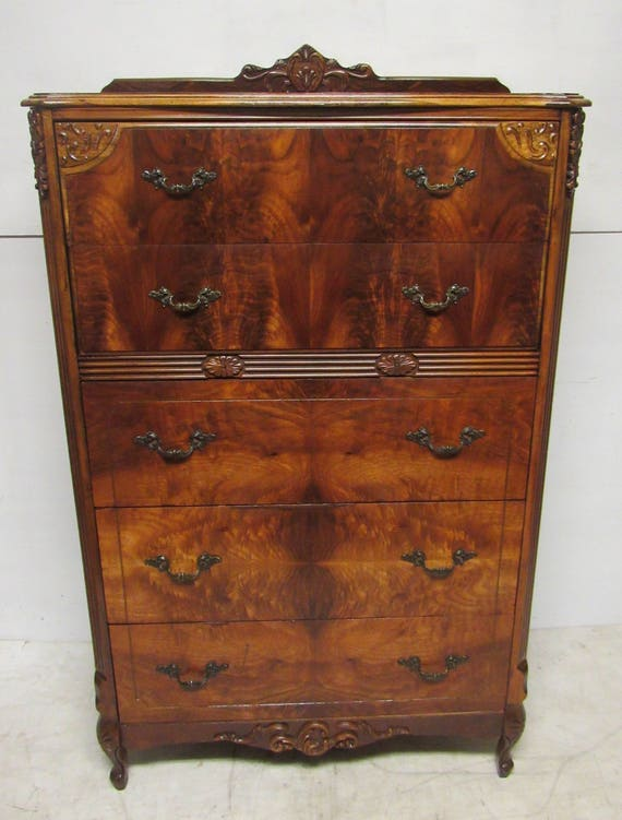 Beautiful burl walnut highboy dresser
