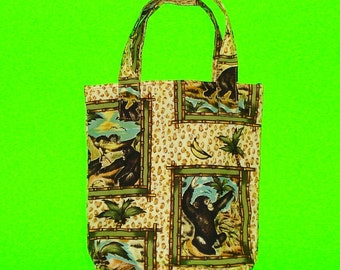 Monkeys Frolicking Fun and Leopard Animal Print Cotton Printed Purse Chimpanzee Quirky Kitsch Tote