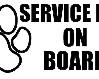 Service Dog On Board Car/Window Decal