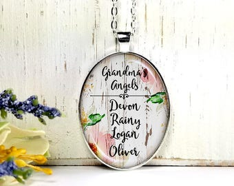 Grandma's Angels On Wood Background- Custom Names-Personalized Jewelry- Grandma Gift-Large Oval- Glass Bubble Pendant Necklace