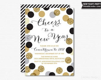 confetti new years eve party invitation printable digital polka dots new years invitation black and gold glitter new year party