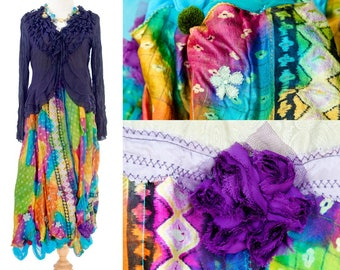 Long Silk Dress Boho Fairy Sheer Cardigan Purple Ragged Gypsy Rainbow Maxi color Silk Sleeveless Wedding guest Hippies Chic Whimsical
