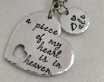 A Piece Of My Heart Is In Heaven - Sympathy Gift - Memorial Jewelry - Remembrance Keepsake - Hand Stamped - Loss of Loved One - In Memory Of