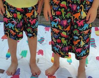 Dinosaur shorts. 5-6 years. 100% cotton. Dinosaur. Handmade in UK. Elasticated waistband. Rainbow. Dinosaur gift.