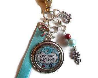 "Bag charm, door keys/friend gift / ""A sweet friend"" / gift/faby/thanks/party/birthday/Christmas wonderland"