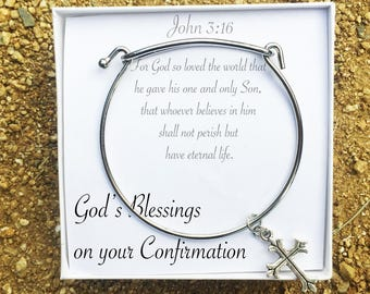 Confirmation Bracelet, Confirmation Gift, Cross Charm, God's Blessings on your Confirmation Note, Special Christian Confirmation Jewelry