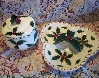 Lefton Candy Cane and Holly Divided Dish and Covered Candy Bowl