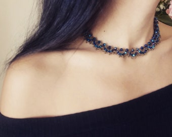 Handmade necklace in ocean blue and gold