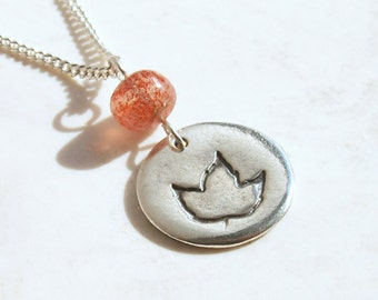 Sunstone Fall Leaf Tiny Orange Leaf Necklace .925 sterling chain nature autumn design in recycled Fine Silver round circle charm pendant