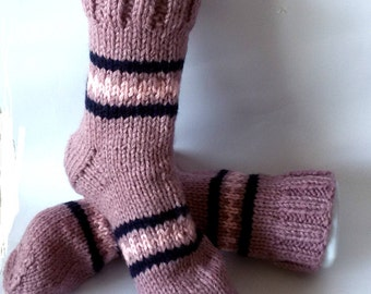 Women's Socks Wool Socks in Pink with Stripes Size 38/39 Gift for women