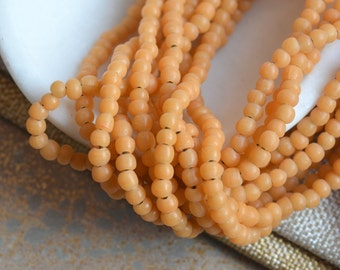 Small Round Yellow Lampwork Glass Beads, 5mm Round Yellow Glass Beads, Irregular Round Beads, Opaque Glass Beads, One Strand, BB17-0127i