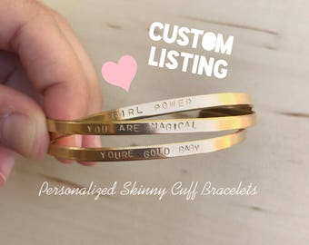 Custom Personalized SKINNY Cuff Bracelets // Custom Bracelets in Gold and Silver