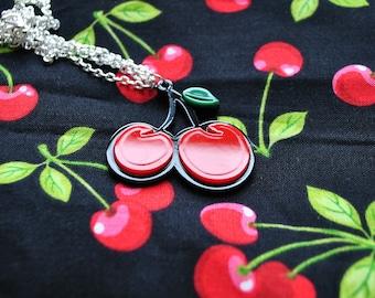 Rockabilly Cherry Necklace // Tattoo Necklace // Cherry Necklace  // Rockabilly Necklace // Cherries