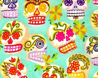 Mini Calaveras Sugar Skulls Turquoise Cotton Fabric REMNANT