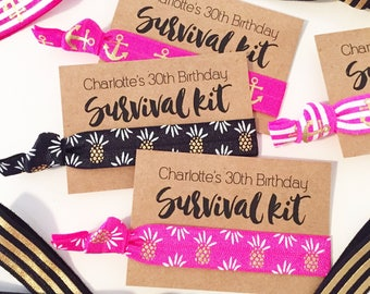 Girls Trip Hair Tie Favors | 30th Birthday Party Favors, Custom Hair Tie Favor Gifts, Girls Weekend Beach Trip Vacation Getaway Pineapples