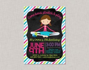 Yoga Birthday Invitation, Yoga Invitation, Yoga Birthday Party, Yoga Party, Kids Yoga Party, Kids Yoga Invitation, Chalkboard Invitation