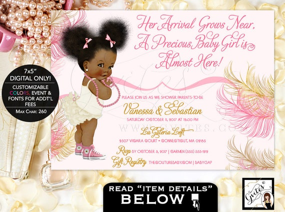 African american baby girl baby shower invitations pink rose filmwisefo