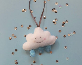 cloud keyring, felt rain cloud, felt decoration, felt charm.