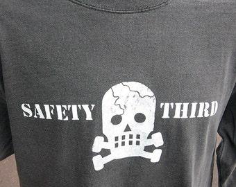 LS Skully SAFETY THIRD shirt Mens Long sleeve tshirt sk8  s - xxl Gray cracked skull safety 3rd t-shirt concussion shirt