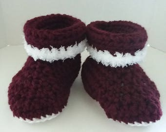 Burgundy Cuffed Boots with Fur Size 6-12 Months