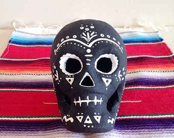 Hand Painted Day of the Dead Paper Mache Sugar Skull Black and White Dia de los Muertos
