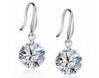 Delicate Crystal Silver Drop Dangle Earrings