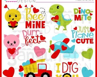Valentine Clipart, Valentine Lettering, Love Clipart, Valentine clip art, Instant download, JPG, PNG, EPS