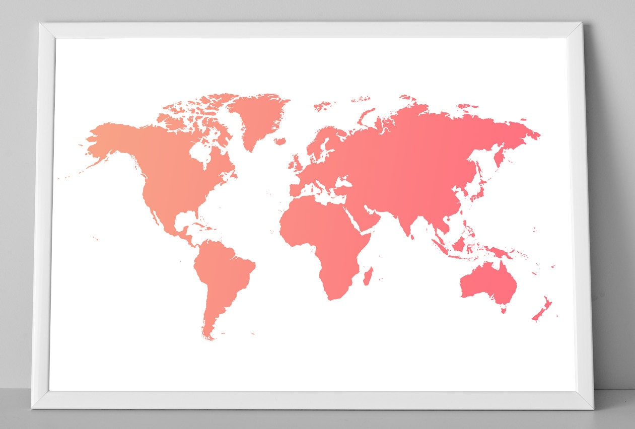 World map ombre art print coral world map child wall decor zoom gumiabroncs Choice Image