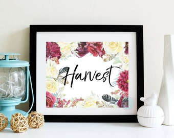 PRINTABLE Art Harvest Printable Fall Decor Autumn Decor Pumpkin Print Seasonal Print Harvest Decor Thanksgiving Print Watercolor Printable