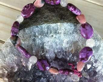 Healing Bracelet- Rhodochrosite, Purple Crazy Lace Agate and Rose Quartz