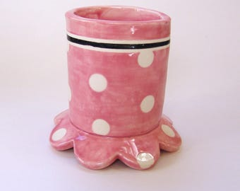pretty pink pottery Pencil Cup  :) ceramic office decor whimsical polka-dots, retro pink & black design