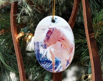 Horse Christmas Ornament, Photo Ornament, Horse Ornaments, Horse Gifts, Horse Memorial, Pet Ornament Memorial. Pet Ornament Personalized