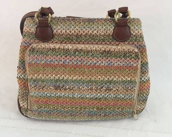 90's Rosetti Woven With Multi Colors& Leather Shoulder /Handbag ,Everyday Bag