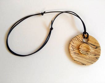Beech Wood Wooden Pendant Necklace, Round Pendant Necklace, Eco Jewelry, Gift For Her, Wooden Jewelry, Wood, Wooden, Natural Wood,