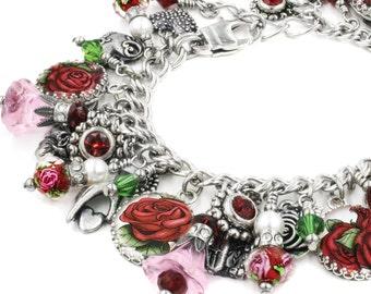 Valentine Bracelet, Valentine Rose Jewelry, Silver Rose Bracelet, Romantic Jewelry