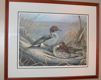 8267: Vintage Jim Foote Limited Edition Framed Print Hand Signed and Numbered Mallard Ducks Fine Art at Vintageway Furniture