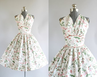 RESERVED... Vintage 1950s Dress / 50s Cotton Dress / Pink and Red Floral Halter Sun Dress XS