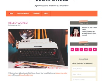 WordPress Theme - Genesis Child Theme - Responsive WordPress Theme - Blog theme template: Oscar & Rose