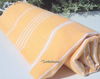 Turkishtowel-High Quality,Hand- woven,Pure Cotton,Bath,Beach,Spa,Yoga,Travel Towel or Sarong-White Stripes on Pale,Pastel Orange