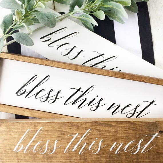 Bless This Nest, Wood Sign, Handpainted, Rustic, Farmhouse, Framed, Home Decor, Wall Decor, White, Stained, Script, Lettering, Bless, Nest