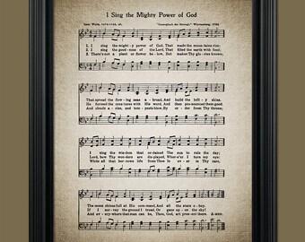 I Sing the Mighty Power of God Hymn Print - Sheet Music Art - Hymn Art - Home Decor - Inspirational Art - Gift - Instant Download #HYMN-049