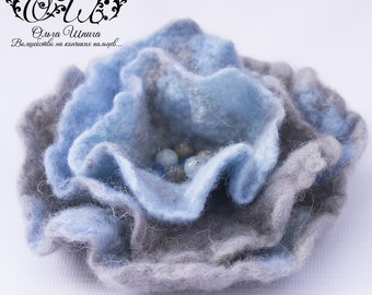 blue felted brooch flower brooch felted brooch felt brooch blue brooch felt flower wool felt jewelry felted flower felt flowers gift for her