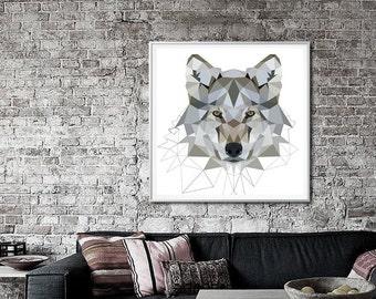 Grey Wolf art print, Geometric, Wolf art,  art print, Art print geometric, wolf print, Animal art, grey wall art, Large geometric L13