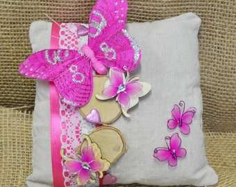Your natural and fuchsia pillow