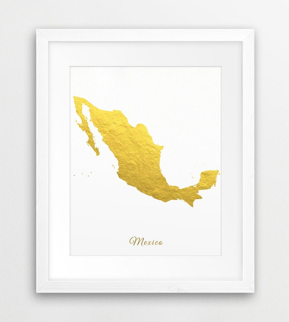 Mexico Map Print Mexico Gold Foil Texture Mexico Wall Art